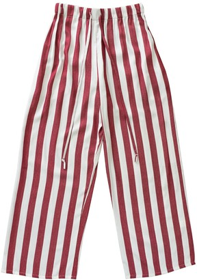 Keegan Red & White Striped High Waisted Pants