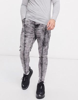 SikSilk pleated drop crotch denim jeans in gray acid wash