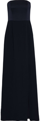 Mikael Aghal Strapless Satin-paneled Crepe Gown