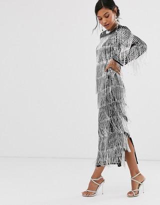 Asos Edition EDITION sequin & fringe midi tunic dress-Silver