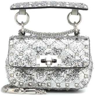 Valentino Rockstud Spike Micro glitter crossbody bag