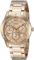 GUESS Women's U0778L3 Sporty Rose Gold-Tone Stainless Steel Multi-Function Watch with Multi-function Dial and Pilot Buckle
