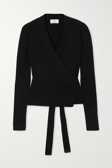 Allude Wool Wrap Cardigan - Black