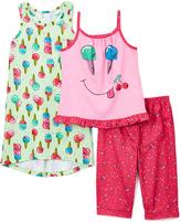 Komar Kids Pink & Green Ice Cream Nightgown & Pajama Set - Girls