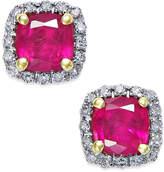 Macy's Ruby (1-1/2 ct. t.w.) and Diamond (1/10 ct. t.w.) Stud Earrings in 14k Gold