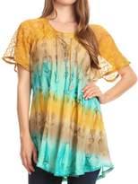Sakkas 16786 - Monet Long Tall Tie Dye Ombre Embroidered Cap Sleeve Blouse Shirt Top - OS