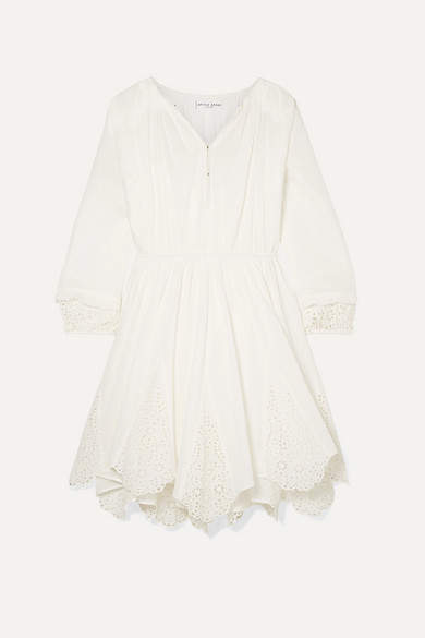 Apiece Apart Vereda Broderie Anglaise Cotton-voile Mini Dress - Off-white
