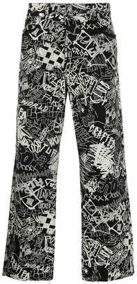 Maison Margiela graffiti print straight-leg jeans