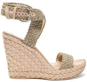 4af2cf12aa4 Suede-trimmed Crocheted Wedge Espadrille Sandals