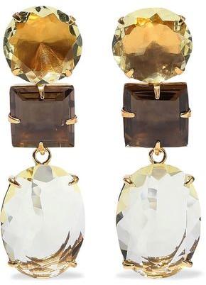 Bounkit 14-karat Gold-plated Quartz Earrings