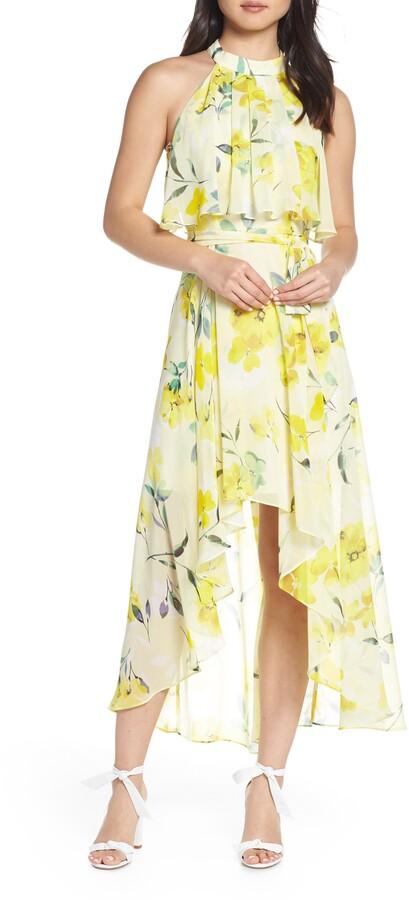 Eliza J High/Low Halter Midi Dress