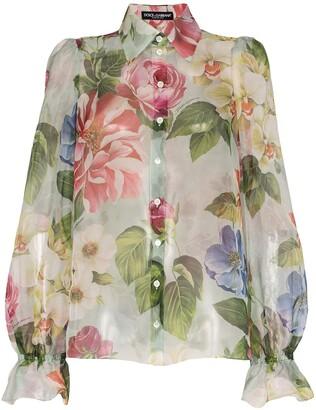 Dolce & Gabbana Floral Print Organza Shirt