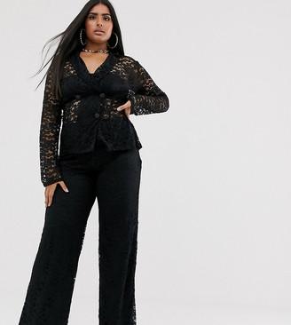 Club L London Plus sheer lace pants in black