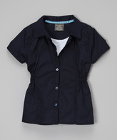 Eddie Bauer Navy & White Button-Up - Girls