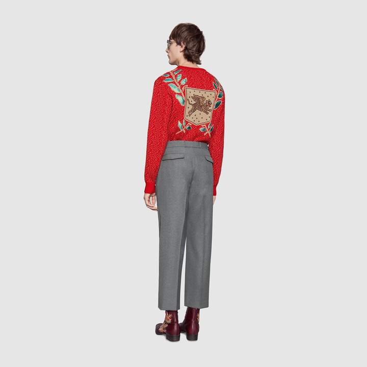 Gucci Wool sweater with flying tiger
