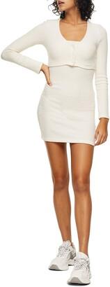 Topshop Ribbed Long Sleeve Cardigan Minidress