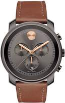 Movado Bold 44mm case gun metal IP chronograph leather strap mens watch