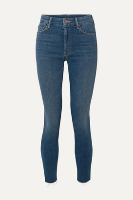 Mother The Looker Frayed High-rise Skinny Jeans - Mid denim