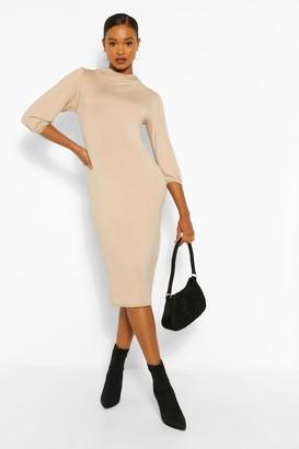boohoo Cowl Neck Side Split Midi Dress