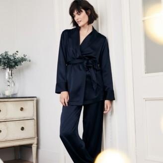 The White Company Silk Smoking Suit Pyjama Set, Navy, Extra Small