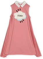 Fendi Sleeveless Collared Logo Swing Dress, Pink, Size 10-12