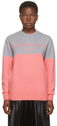 Givenchy Pink and Grey Cashmere Logo Sweater