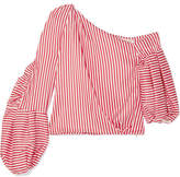 Hellessy Hilda One-shoulder Striped Silk-blend Twill Top - Red