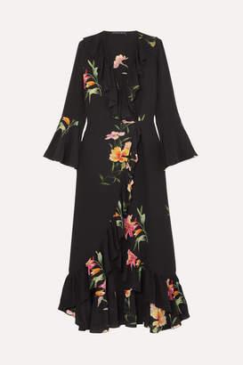 Etro Ruffled Floral-print Silk Crepe De Chine Wrap Dress - Black