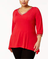 NY Collection Plus Size Embellished Handkerchief Top
