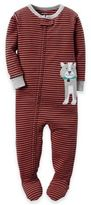 Carter's Zip-Front Striped Dog Footed Pajama in Orange
