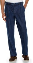 Roundtree & Yorke Big & Tall Pleated Side Elastic Denim Pants