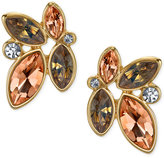 2028 Gold-Tone Peach Crystal Cluster Stud Earrings