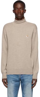 MAISON KITSUNÉ Beige Merino Fox Head Sweater
