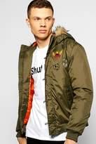 Boohoo Fur Hooded Badged MA1 Bomber