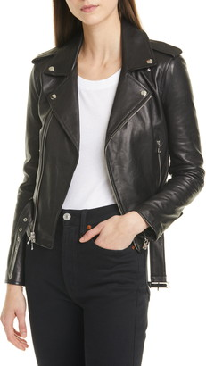L'Agence Belted Leather Moto Jacket