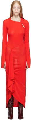 Unravel Red Open Sleeve Twist Dress