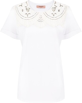 Twin-Set lace-embellished cotton T-shirt