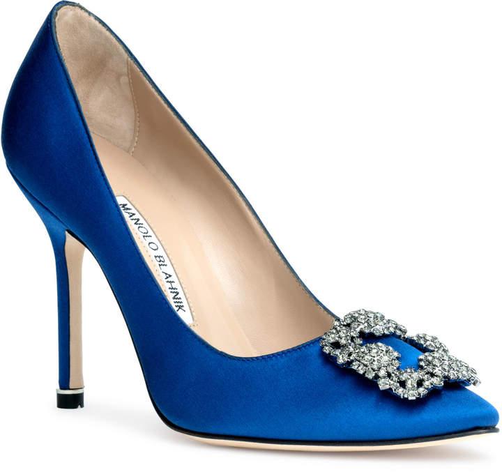 Manolo Blahnik Hangisi 105 royal blue satin pump