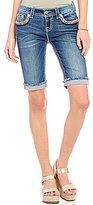 Miss Me Embellished Pocket Stretch Denim Bermuda Shorts