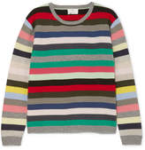 Allude Striped Cashmere Sweater - Gray