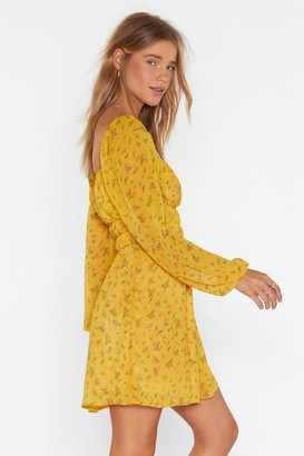 Nasty Gal Womens Flower Hungry Square Neck Mini Dress - yellow - 8
