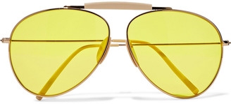 Acne Studios Aviator-style Gold-tone And Acetate Mirrored Sunglasses