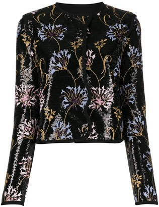 Giambattista Valli Floral-Embroidered Sequin Jacket