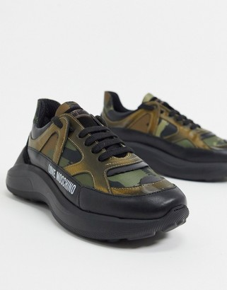 Love Moschino chunky trainers in camouflage