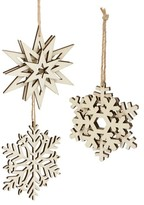 Nordstrom Set Of 3 Wooden Snowflake Ornaments