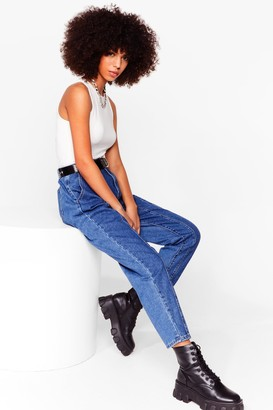 Nasty Gal Womens We Seam It Coming High-Waisted Mom Jeans - Blue - 6, Blue