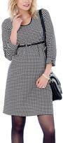 Ebru Black Houndstooth Belted Maternity Scoop Neck Dress - Plus Too