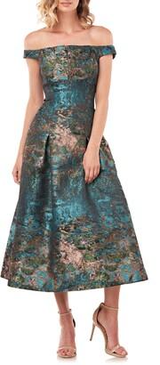 Kay Unger Carina Metallic Jacquard Off the Shoulder Cocktail Dress