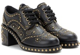 Miu Miu Embellished Leather Derby Shoes