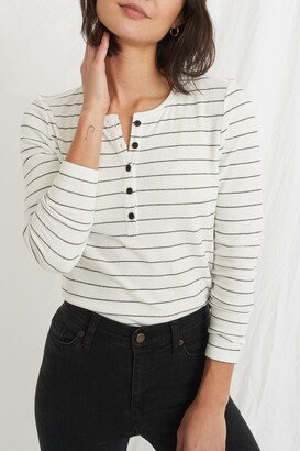 Marine Layer Striped Double Knit Henley Shirt